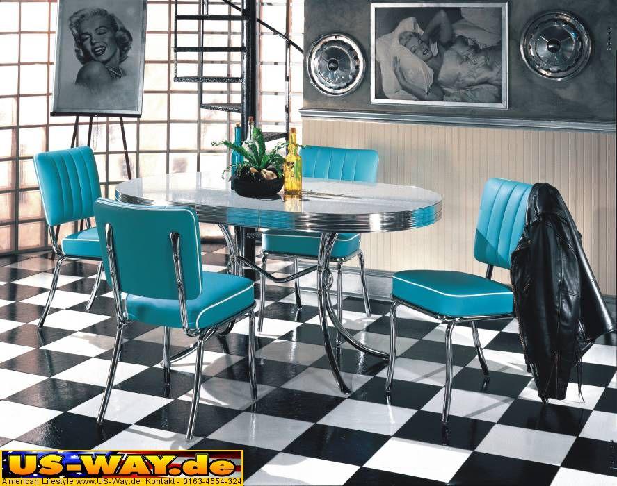 usa bel air diner m bel dinerbank 2x dinerb nke tisch 50er jahre style ebay. Black Bedroom Furniture Sets. Home Design Ideas