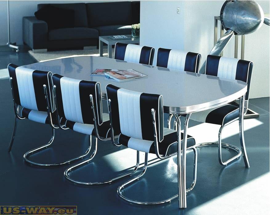 50s diner des chaises en chrome cuisine salle manger for Chaise de salle a diner