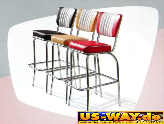 diner barhocker mit lehne barstuhl hocker usa amerika ebay. Black Bedroom Furniture Sets. Home Design Ideas