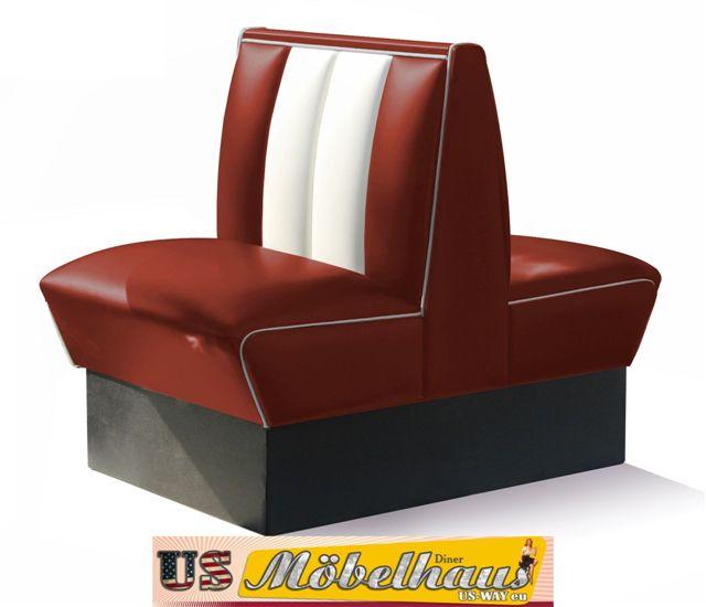 hw 70db ruby american dinerbank sitzbank diner b nke m bel usa style gastronomie ebay. Black Bedroom Furniture Sets. Home Design Ideas