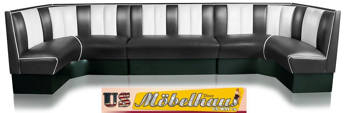 hw 70dbblack american dinerbank sitzbank diner b nke m bel usa style gastronomie. Black Bedroom Furniture Sets. Home Design Ideas