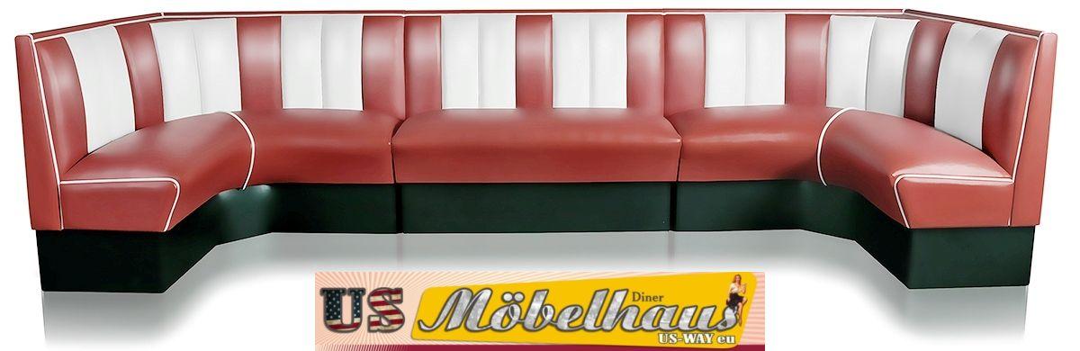 hw 60 60 ruby amerikanische m bel dinerbank eckbank diner retro usa gastronomie ebay. Black Bedroom Furniture Sets. Home Design Ideas
