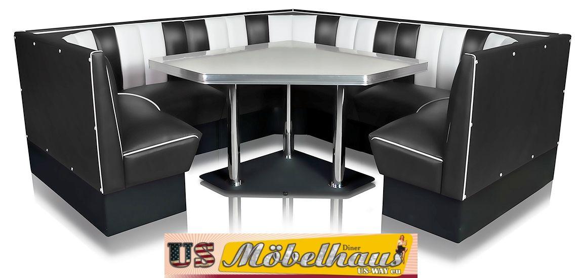hw 60 60 red american dinerbank eckbank diner b nke m bel 50 s retro usa style ebay. Black Bedroom Furniture Sets. Home Design Ideas