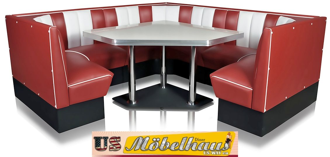 hw 120 120 b amerikanische m bel dinerbank eckbank diner retro usa gastronomie. Black Bedroom Furniture Sets. Home Design Ideas