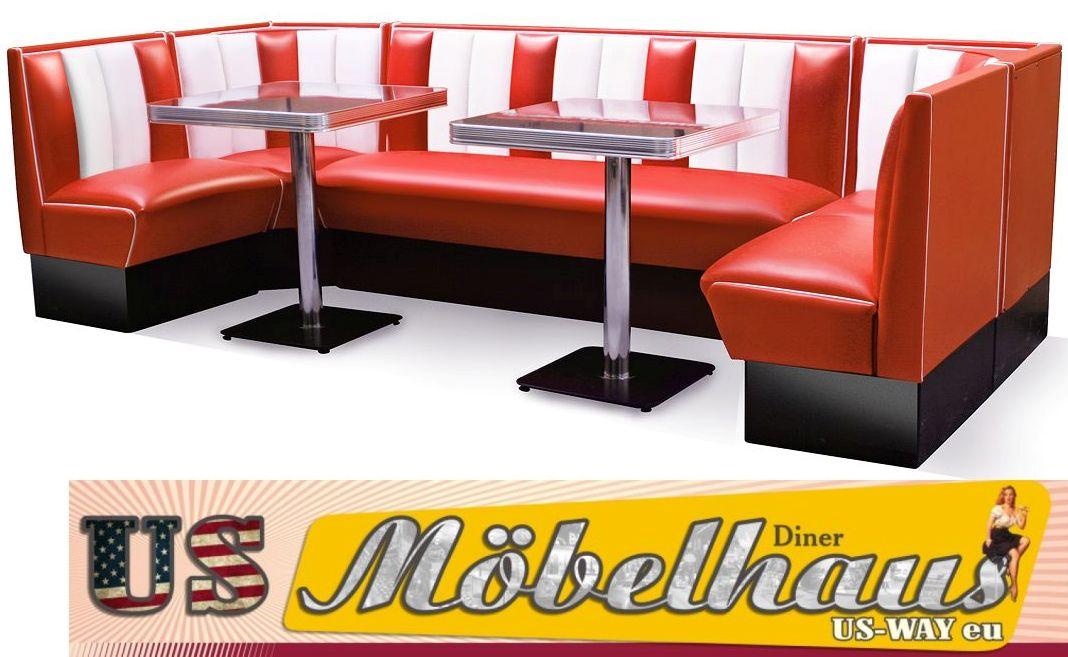 Eckbankgruppe 8 personen  US-Diner Bel Air Dinerbänke