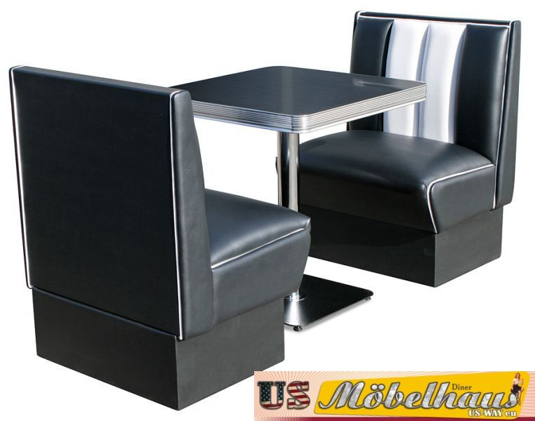 hw 70dbblack american dinerbank sitzbank diner b nke m bel. Black Bedroom Furniture Sets. Home Design Ideas