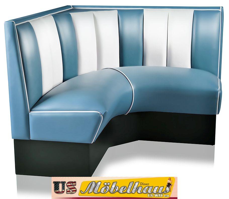 hw 120 120blu american dinerbank eckbank diner b nke m bel 50 s retro usa style ebay. Black Bedroom Furniture Sets. Home Design Ideas