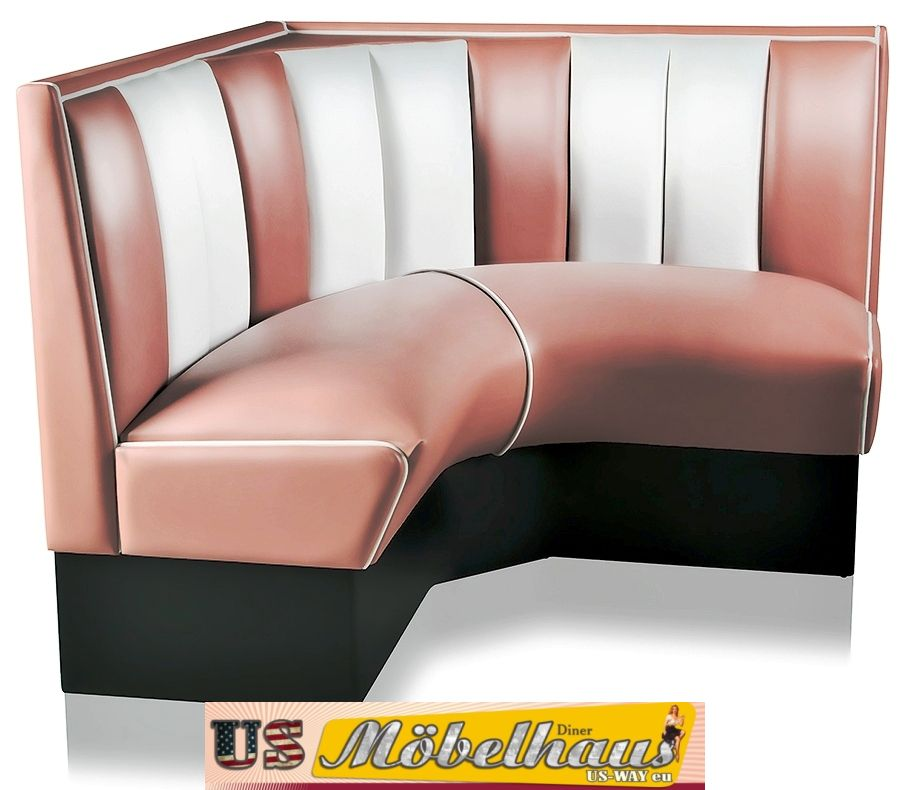 hw 120 120 dr amerikanische m bel dinerbank eckbank diner b nk retro gastronomie ebay. Black Bedroom Furniture Sets. Home Design Ideas