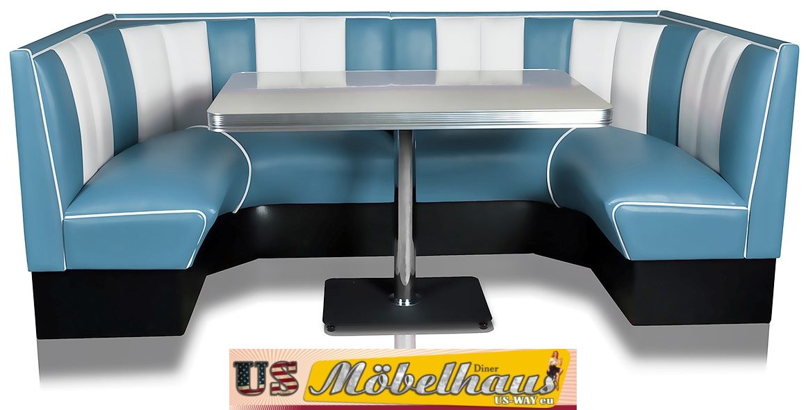 hw 180 blue american dinerbank sitzbank diner b nke m bel usa style gastronomie ebay. Black Bedroom Furniture Sets. Home Design Ideas