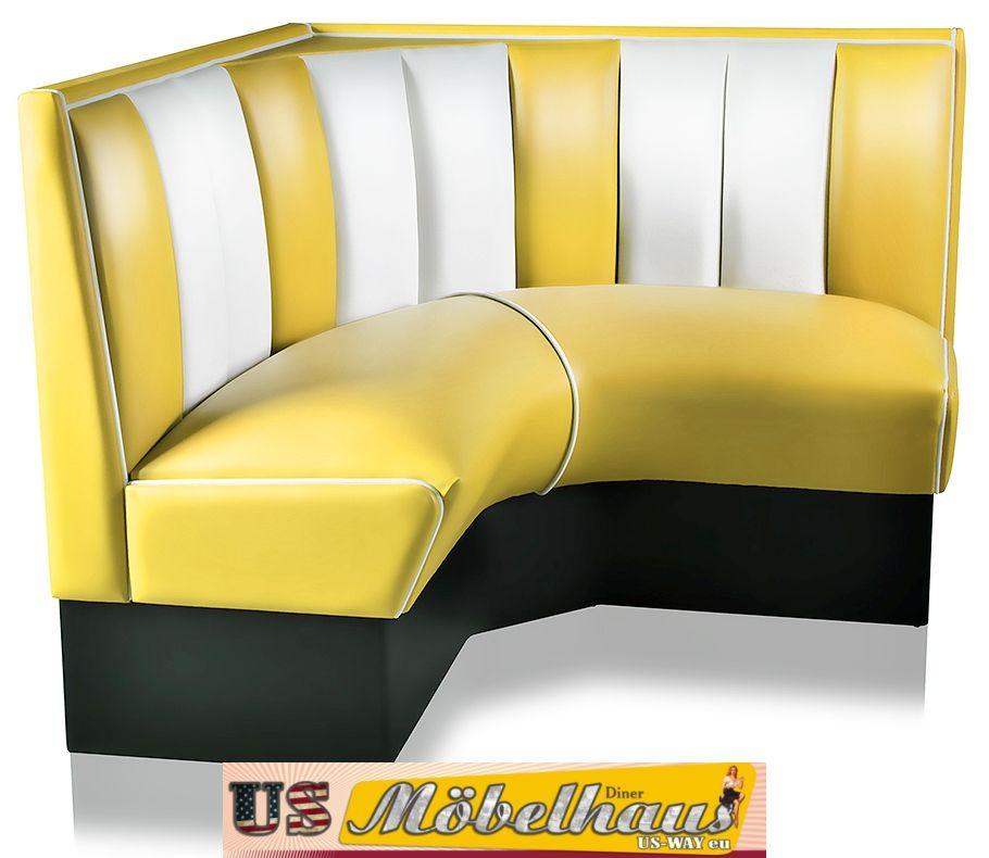 hw 120 120 y amerikanische m bel dinerbank eckbank diner retro usa gastronomie ebay. Black Bedroom Furniture Sets. Home Design Ideas