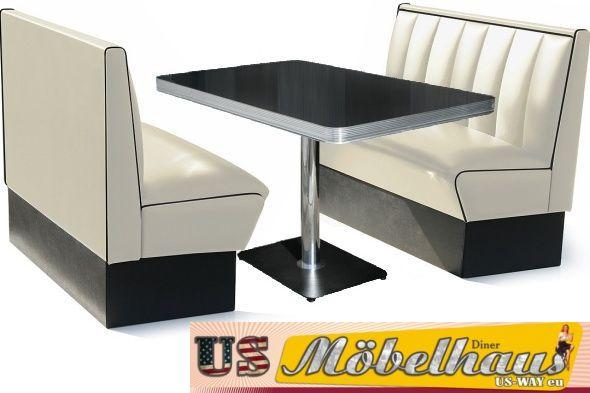 hw 120 120 r amerikanische m bel dinerbank eckbank diner retro usa gastronomie ebay. Black Bedroom Furniture Sets. Home Design Ideas