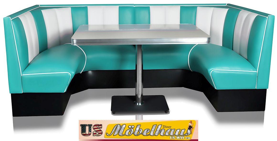 Details zu HW-120/120 American Dinerbank Sitzbank Diner Bänke Möbel 50´s  Retro USA Style